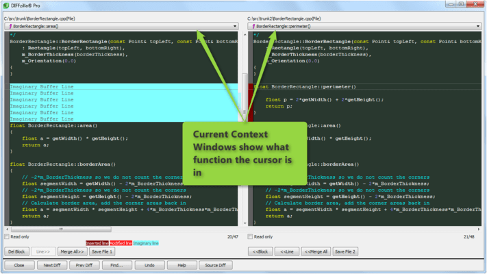 Current Context Windows in DIFFzilla