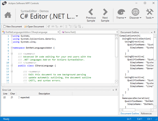 <strong>Advanced Editing Capabilities</strong><br /><em><p>SyntaxEditor has a number of display features you find in the Visual Studio code editor such as line numbers, visible whitespace, word wrap, line modification marks, split views, mouse wheel zooming, and more.</p>