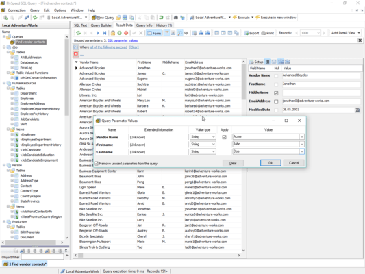 Simplified querying with parametrized SQL queries, convenient data browsing
