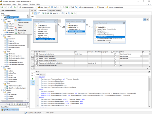 Combined visual query building with direct SQL text editing