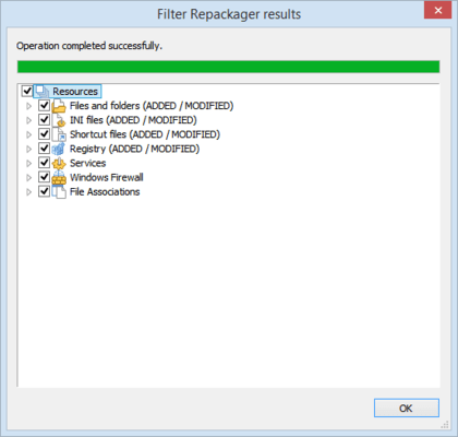 Advanced Installer Architect Repackager results