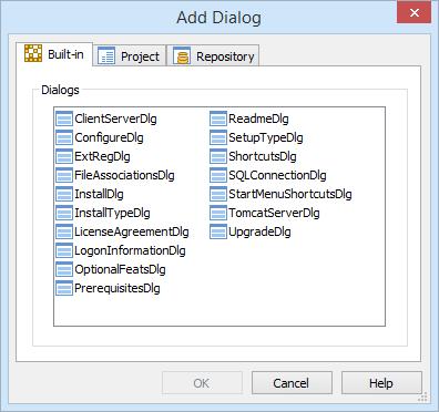 Advanced Installer Enterprise Add Dialog