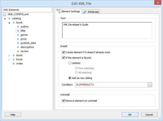 Advanced Installer Enterprise XML Element Settings