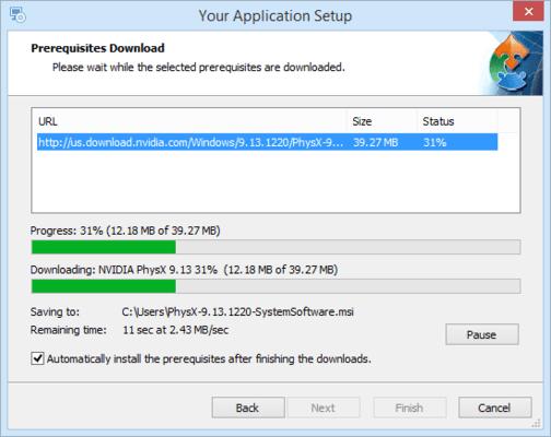Advanced Installer Prerequisite