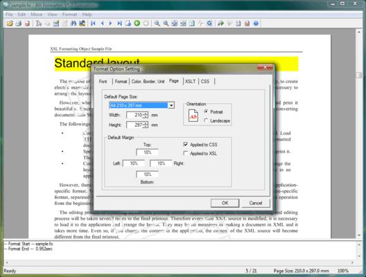 Screenshot of AH Formatter V5.x Options (Add-Ons)