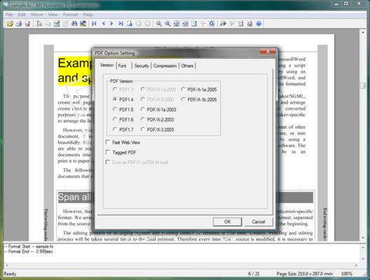Screenshot of AH Formatter V5.x Upgrades