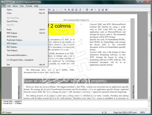 Screenshot of AH Formatter
