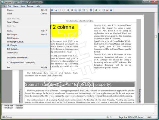 Screenshot of AH XSL Formatter Lite