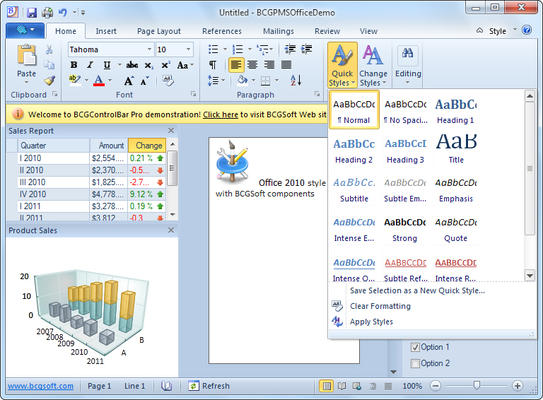 Office 2010-style UI with Backstage View
