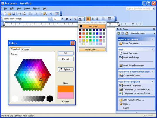 <strong>Screenshot TitleMS Word 2003-style GUI</strong><br /><em>MS Word 2003-style GUI including menus, toolbars, tasks pane and advanced color picker</em><br /><br />