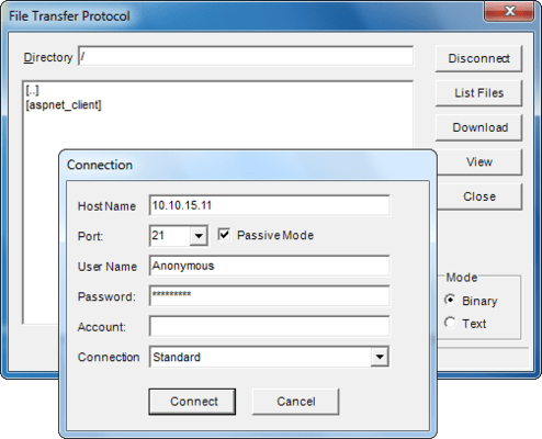 <strong>FTP</strong><br /><em>File Transfer Protocol Library C++ Wrappers, An object of a class derived from the FTP library C++ wrapper allows the developer to connect to a remote server and perform file and directory maintenance functions. An object of this class corresponds to a FTP client/server session. In addition to copying files between the local and remote host, the control can be used to list the files on the remote system, remove and rename files, create and remove direct</em><br /><br />