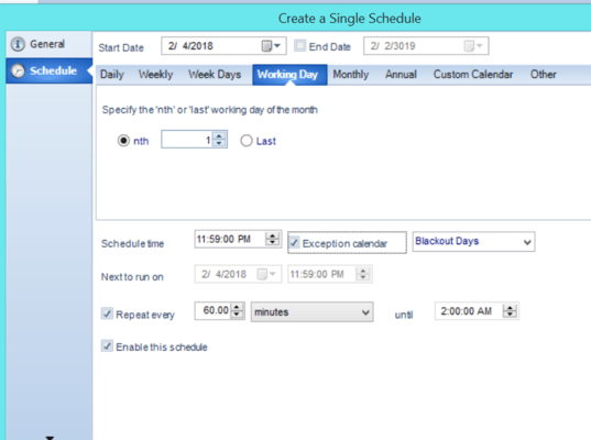 Schedule Crystal Reports for the 1st day of every Month.