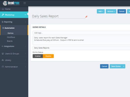 On-demand or scheduled reports from within IntelliFront