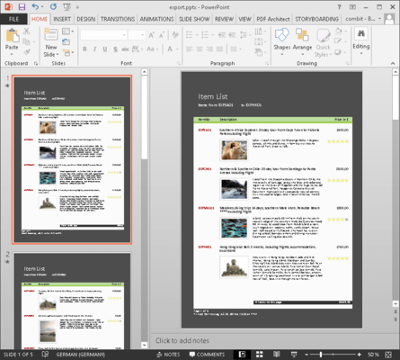 <strong>PowerPoint Export</strong><br /><em><p>Users can design their reports in List & Label and export them directly to PowerPoint. One click of the mouse and their presentation is ready to go, packed with the latest figures for the next meeting.</p>