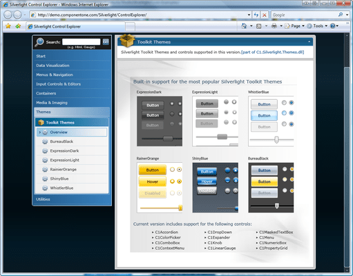 Built-in support for the most popular Microsoft Toolkit themes in ComponentOne Studio for Silverlight