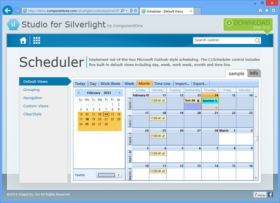 Microsoft Outlook-style Scheduler