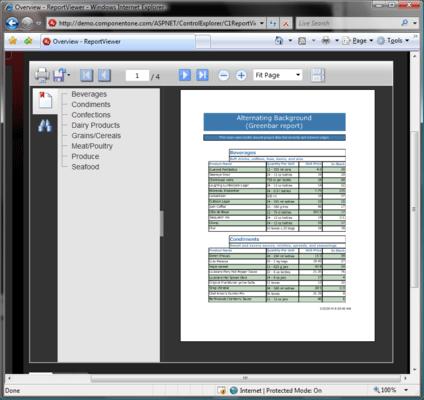 ComponentOne ReportViewer for ASP.NET AJAX