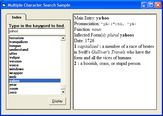 Multiple Character Search