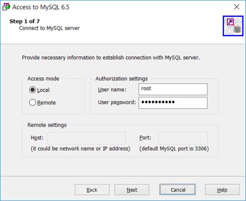MySQL Connection Settings