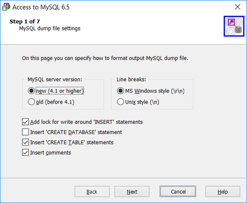 MySQL Dump File Settings