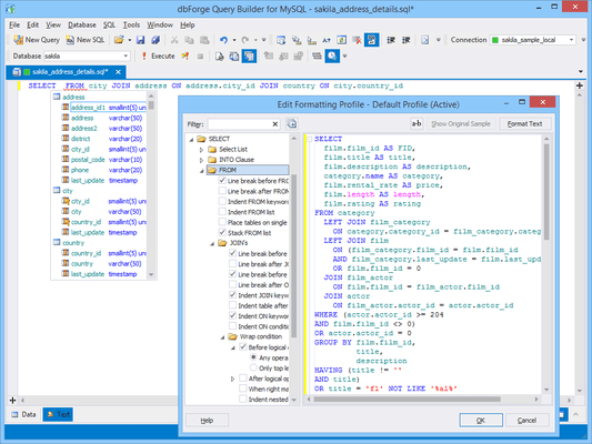 SQL Editing