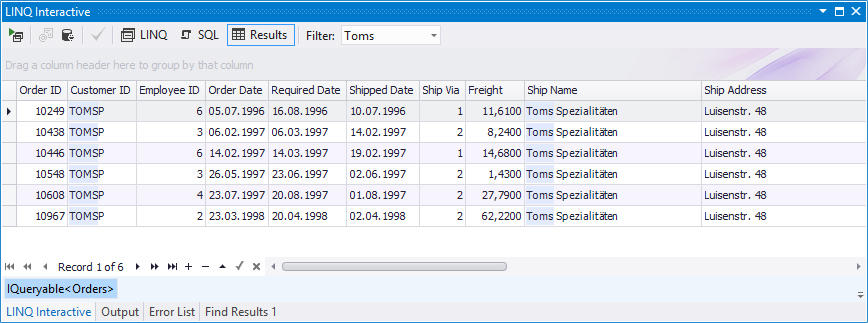<strong>Filtering Data in LINQ Insight</strong><br /><em>To filter data, enter the filter string to the Filter box on the LINQ Interactive window toolbar.</em><br /><br />