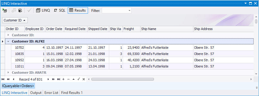Grouping Data in LINQ Insight