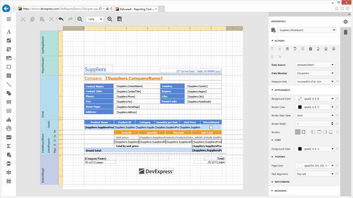 ASP.NET Report Designer