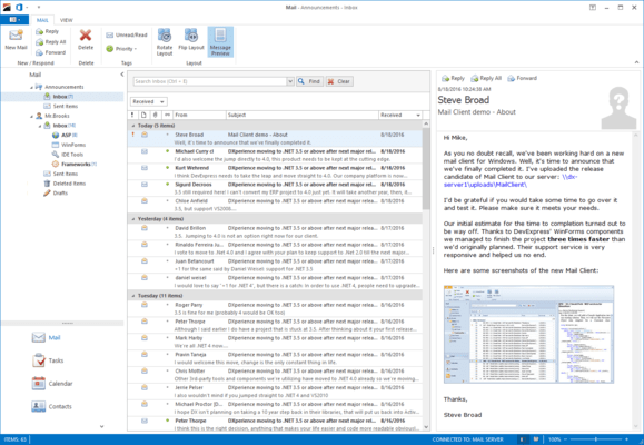 DevExpress WinForms Mail Client
