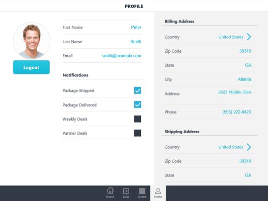DevExtreme Mobile Realtor Store Profile