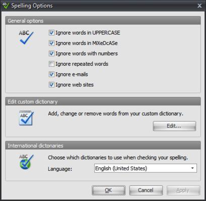 Screenshot of Express Spell Checker