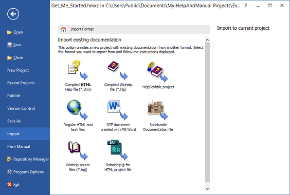 <strong>Easy migration</strong><br /><em><p>Help & Manual imports regular HTML and text files, compiled HTML Help, Word files (RTF format), Winhelp source files and even decompiles HLP files.</p> </em><br /><br />