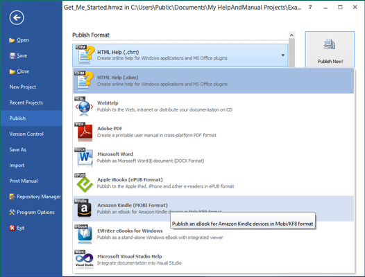 <strong>Multi Format</strong><br /><em><p>You can output your projects to all standard Windows help formats (HTML Help, Winhelp and MS Help 2.0 / Visual Studio Help), browser-based Help, PDF and Word RTF.</p> </em><br /><br />