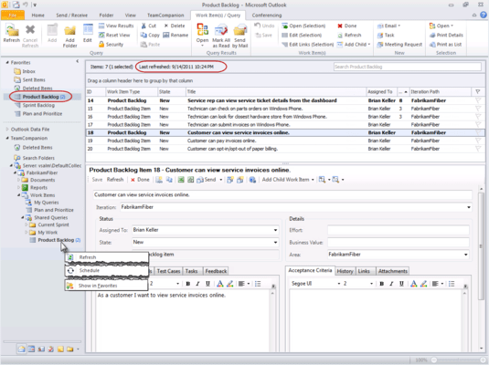 Screenshot of TeamCompanion for MS Outlook