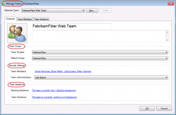 <strong>Team Membership</strong><br /><em>Manage team membership, scope and iterations.</em><br /><br />