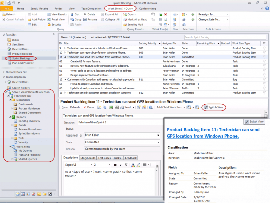 <strong>Query Result</strong><br /><em>Hierarchical query result list showing the embedded work item form and HTML work item preview.</em><br /><br />