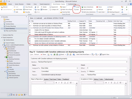<strong>Changed Work Items</strong><br /><em>Hierarchical query result list with multiple changed work items.</em><br /><br />