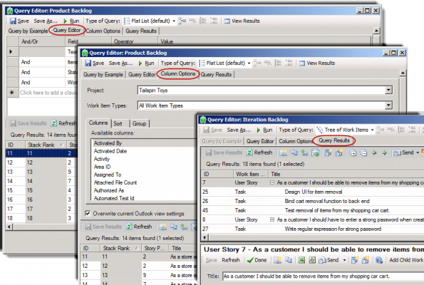 <strong>Query Editor</strong><br /><em>TFS standard Query Editor and Column Options, and enhanced Query Results viewer embedded in TeamCompanion.</em><br /><br />
