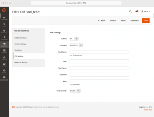 GoMage Feed Pro M2 for Magento 2 - FTP and SFTP