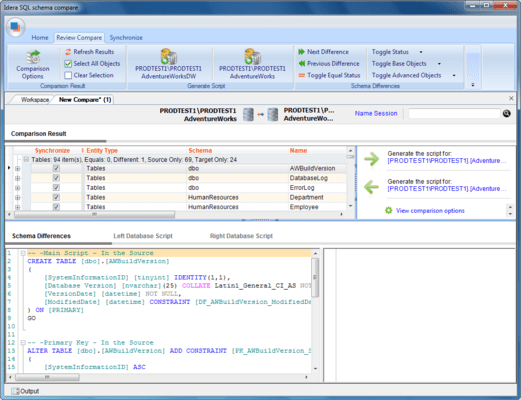 Screenshot of SQL Comparison Toolset