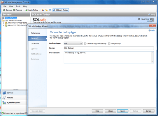 Screenshot of SQL Safe Backup