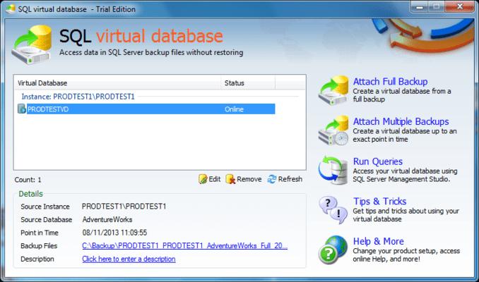 Screenshot of SQL Virtual Database