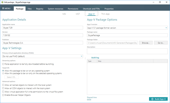 App-V Package Settings