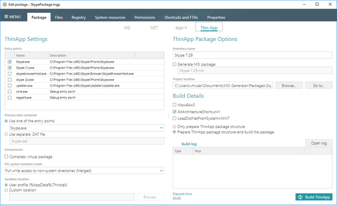 ThinApp Package Settings