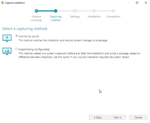 Capturing Methods Supported by Installation Repackager