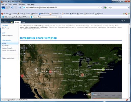 Screenshot of Infragistics NetAdvantage for SharePoint
