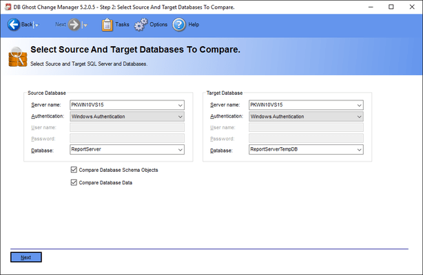 Select source and target databases to compare.