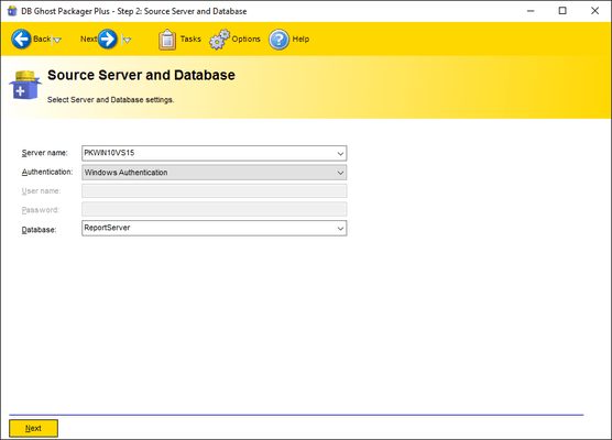Select the server and database.