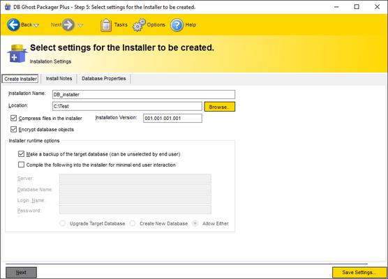 Select installer settings.