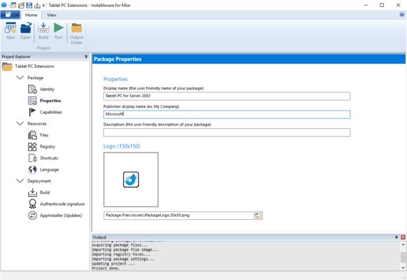 InstallAware MSIX Editor Properties